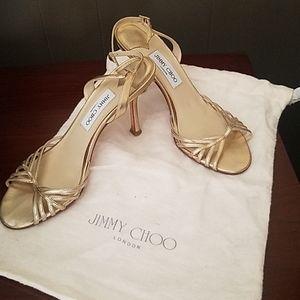 Jimmy Choo slingbacks in gold *used